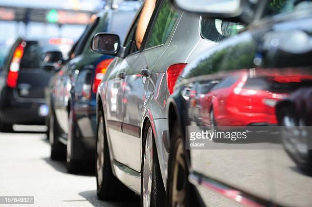 Lane of queueing cars