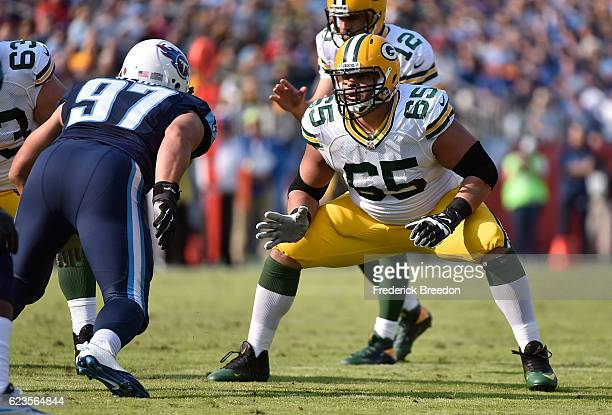 Lane Taylor of the Green Bay Packers plays against the Tennessee Titans at Nissan Stadium on November 13 2016 in Nashville Tennessee
