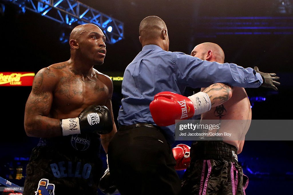 Lanell Bellows and Matthew Garretson are kept apart by referee Kenny Bayless in their super middleweight bout at the MGM Grand Garden Arena on May 4, 2013 in Las Vegas, Nevada.
