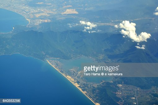 Lang Co-Hue Bay in Vietnam aerial view from airplane