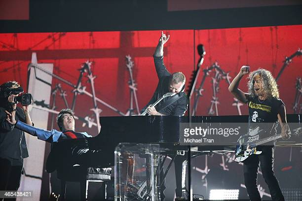 Lang Lang James Hetfield and Kirk Hammett of Metallica perform onstage during the 56th GRAMMY Awards held at Staples Center on January 26 2014 in Los...
