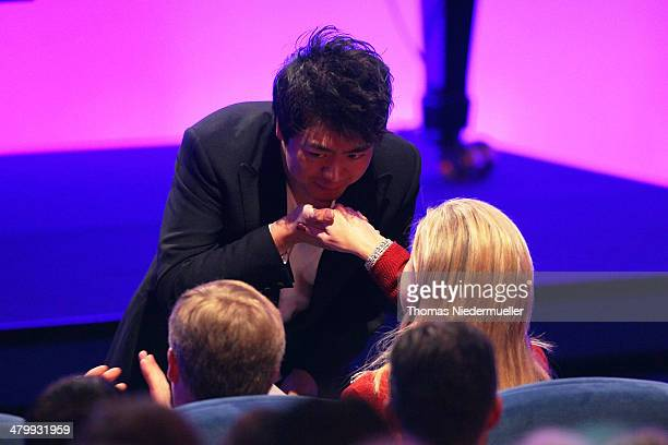Lang Lang kisse the hand of Queen Maxima of the Netherlands during the German Media Award on March 21 2014 in BadenBaden Germany The German Media...