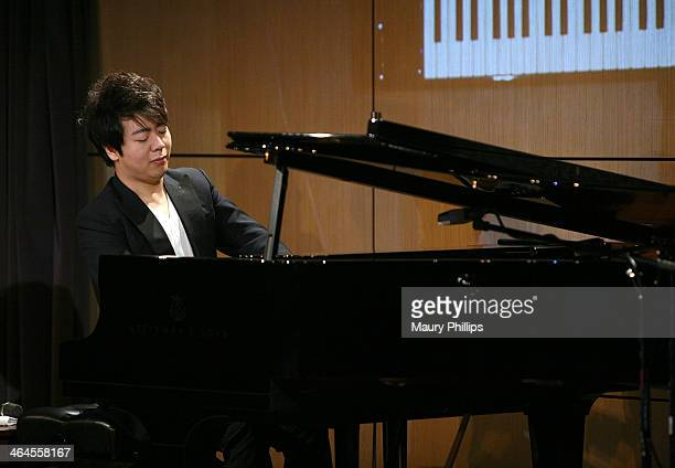 Lang Lang performs during An Evening with Lang Lang at the GRAMMY Museum on January 22 2014 in Los Angeles California