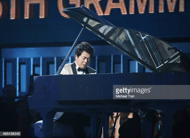 Lang Lang performs onstage during the 56th GRAMMY Awards held at Staples Center on January 26 2014 in Los Angeles California