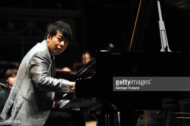 Lang Lang rehearses on stage at Royal Albert Hall on March 20 2012 in London United Kingdom