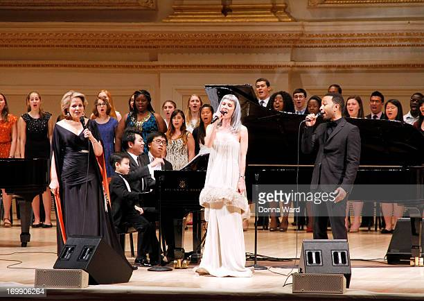 Lang Lang Renee Fleming Oh Land John Legend and Lang Lang Foundation Student Artists perform at Carnegie Hall on June 3 2013 in New York City