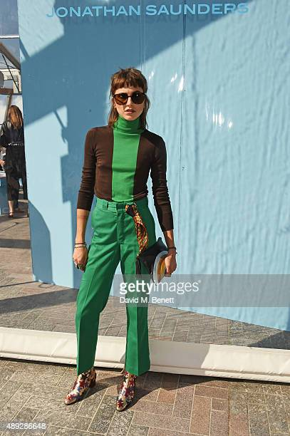 Langley Fox Hemingway attends the Jonathan Saunders show during London Fashion Week SS16 at Lewis Cubitt Square King's Cross on September 20 2015 in...