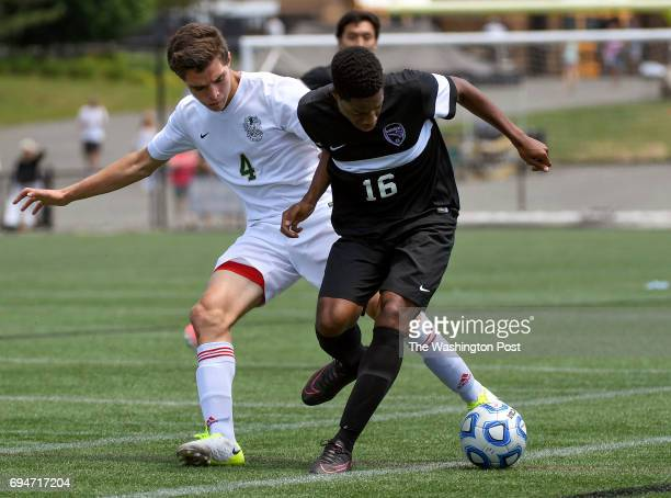 CHANTILLY VA JUNE Langley Saxons defender Tim Murray pokes the ball away from Battlefield Bobcats forward Alec Thompson during the Virginia 6A Boy's...