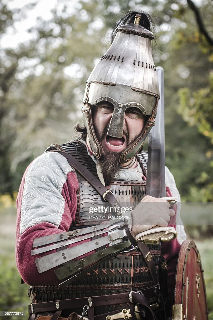 Viking Warrior With Helmet Brigantina Shield And Sword Scandinavia ...