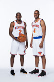 Langston Galloway and Arron Afflalo of the New York Knicks pose for a portrait at Media Day at the MSG Training Facility in Greenburgh New York on...
