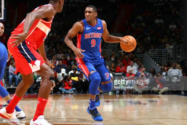 Langston Galloway of the Detroit Pistons handles the ball during game against the Washington Wizards on October 20 2017 at Capital One Arena in...