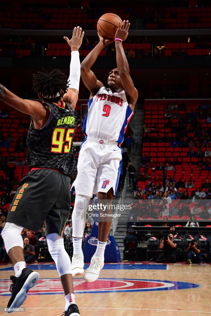 Langston Galloway #9 of the Detroit Pistons shoots the ball against the Atlanta Hawks on October 6, 2017 at Little Caesars Arena in Detroit, Michigan.