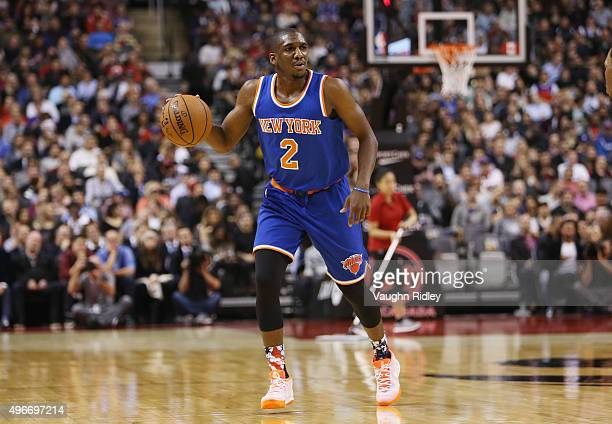 Langston Galloway of the New York Knicks dribbles the ball during an NBA game against the Toronto Raptors at the Air Canada Centre on November 10...