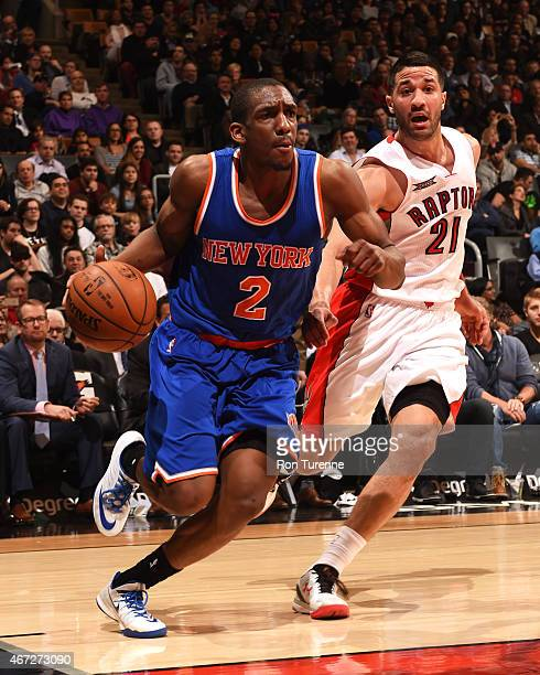 Langston Galloway of the New York Knicks handles the ball against the Toronto Raptors on March 22 2015 at the Air Canada Centre in Toronto Ontario...