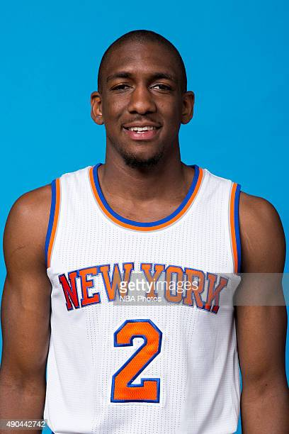 Langston Galloway of the New York Knicks poses for a head shot at media day at the MSG Training Facility in Greenburgh New York on September 28 2015...