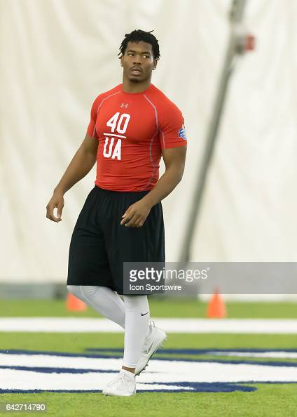 Langston safety Evan Scott warms up during the 2017 Houston NFL Regional Com Santos bine on February 18 2017 at the Texans Training Facility in...