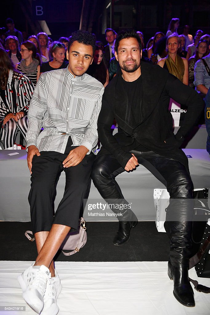 Langston Uibel (L) and <a gi-track='captionPersonalityLinkClicked' href=/galleries/search?phrase=Manu+Bennett&family=editorial&specificpeople=2223445 ng-click='$event.stopPropagation()'>Manu Bennett</a> attend the Odeur show during the Mercedes-Benz Fashion Week Berlin Spring/Summer 2017 at Erika Hess Eisstadion on June 28, 2016 in Berlin, Germany.