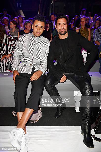 Langston Uibel and Manu Bennett attend the Odeur show during the MercedesBenz Fashion Week Berlin Spring/Summer 2017 at Erika Hess Eisstadion on June...