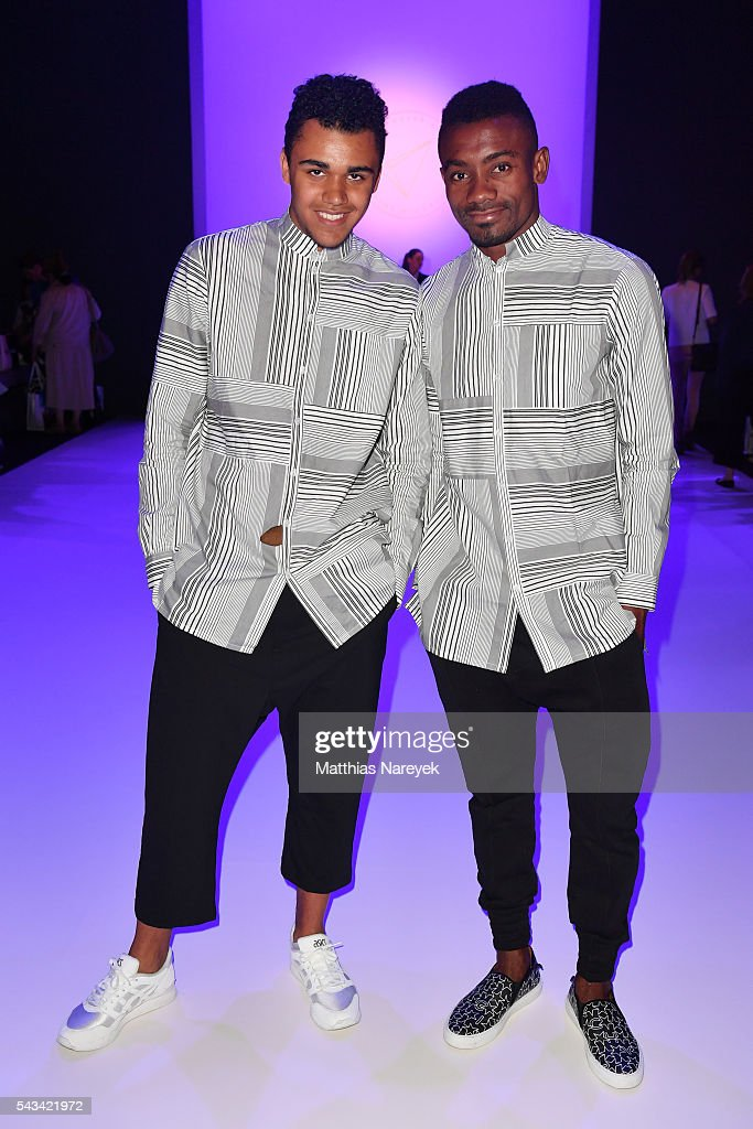 Langston Uibel (L) and <a gi-track='captionPersonalityLinkClicked' href=/galleries/search?phrase=Salomon+Kalou&family=editorial&specificpeople=453312 ng-click='$event.stopPropagation()'>Salomon Kalou</a> attend the Odeur show during the Mercedes-Benz Fashion Week Berlin Spring/Summer 2017 at Erika Hess Eisstadion on June 28, 2016 in Berlin, Germany.