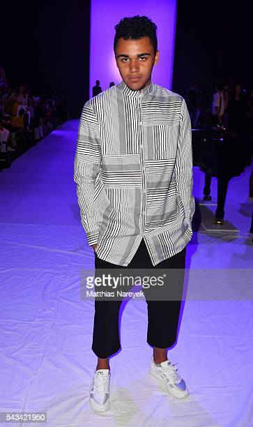 Langston Uibel attends the Odeur show during the MercedesBenz Fashion Week Berlin Spring/Summer 2017 at Erika Hess Eisstadion on June 28 2016 in...
