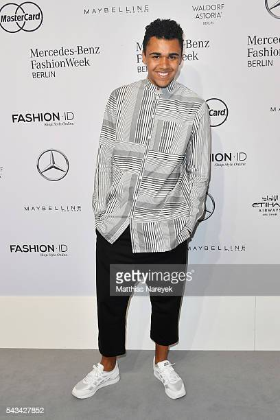 Langston Uibel attends the Riani show during the MercedesBenz Fashion Week Berlin Spring/Summer 2017 at Erika Hess Eisstadion on June 28 2016 in...