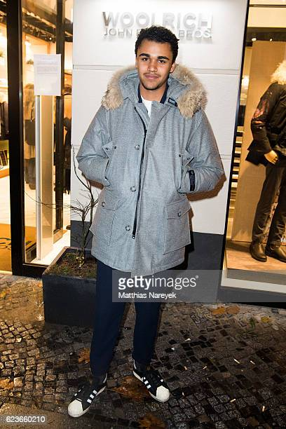 Langston Uibel attends the 'The Woolrich Mill Tradition And Future Of Wool' photo exhibition opening by Woolmark and Woolrich on November 16 2016 in...