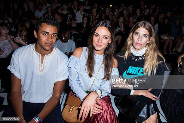 Langston Uibel Janina Uhse and Veronika Heilbrunner are seen at the Zalando fashion show during the Bread Butter by Zalando at arena Berlin on...