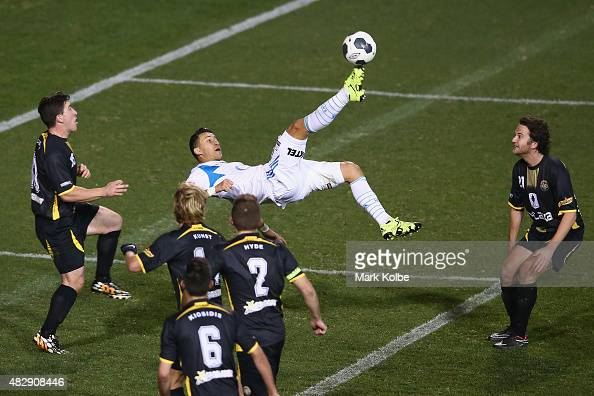 Laniel Georgievski of the Melbourne Victory attempts an overhead shot on goal during a FFA Cup match between Balmain Tigers FC and Melbourne Victory...