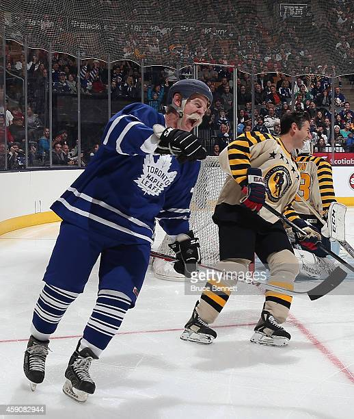 Lanny McDonald celebrates his first period goal during the Hockey Hall of Fame Legends Classic Game at the Air Canada Centre on November 16 2014 in...