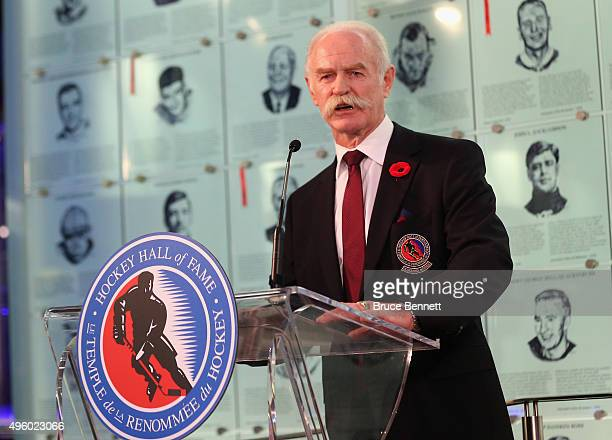 Lanny McDonald Chairman of the Hockey Hall of Fame speaks with the media during a press conference at the Hockey Hall of Fame and Museum on November...