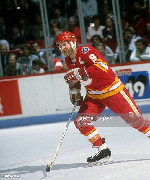 Lanny McDonald of the Calgary Flames skates on the ice during a Stanley Cup Finals game against the Montreal Canadiens in May 1989 at the Montreal...