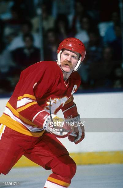 Lanny McDonald of the Calgary Flames skates on the ice during an NHL game circa 1988