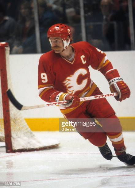 Lanny McDonald of the Calgary Flames skates on the ice during an NHL game circa 1987