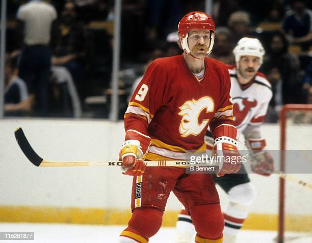 Lanny McDonald of the Calgary Flames skates on the ice during an NHL game against the New Jersey Devils on March 14 1983 at the Brendan Byrne Arena...