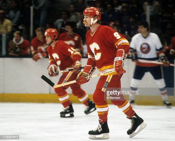 Lanny McDonald of the Calgary Flames skates on the ice during an NHL game against the New York Islanders circa 1985 at the Nassau Coliseum in...