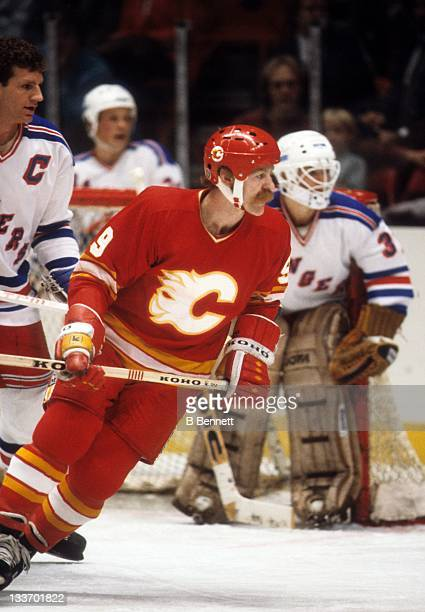 Lanny McDonald of the Calgary Flames skates on the ice during an NHL game against the New York Rangers circa 1985 at the Madison Square Garden in New...