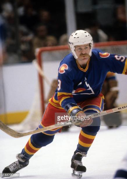 Lanny McDonald of the Colorado Rockies skates on the ice during an NHL game against the New York Islanders circa 1980 at the Nassau Coliseum in...
