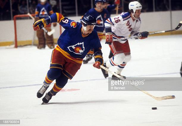 Lanny McDonald of the Colorado Rockies skates with the puck during an NHL game against the New York Rangers circa 1980 at the Madison Square Garden...