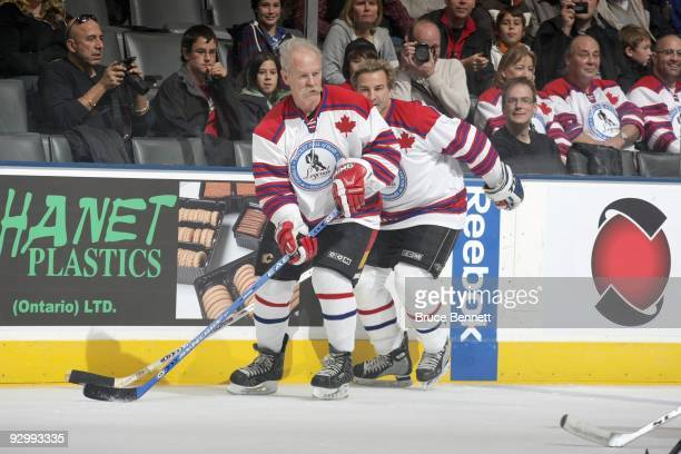 Lanny McDonald skates at the Hockey Hall of Fame Legends Game at the Air Canada Centre on November 8 2009 in Toronto Canada