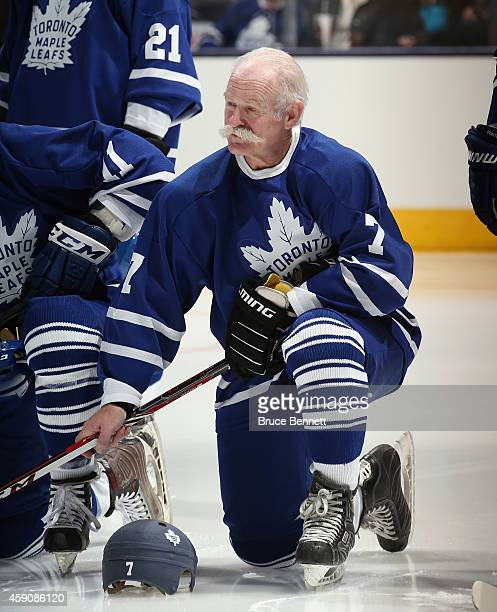 Lanny McDonald watches the pregame ceremonies prior to the Hockey Hall of Fame Legends Classic Game at the Air Canada Centre on November 16 2014 in...