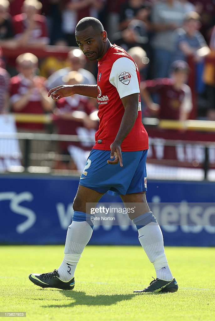 Lanre Oyebanjo of York City in action during the Sky Bet League Two match between York City and Northampton Town at Bootham Crescent on August 3, 2013 in York, England.