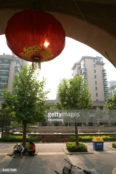 A lantern hangs in a luxury apartment complex in Tangshan Hebei Province China on Wednesday May 28 2008 Tangshan the city flattened in China's 1976...