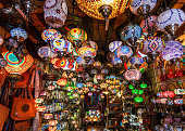 Range of lantern and lamp hanging in the market at Marrakesh, Morocco.