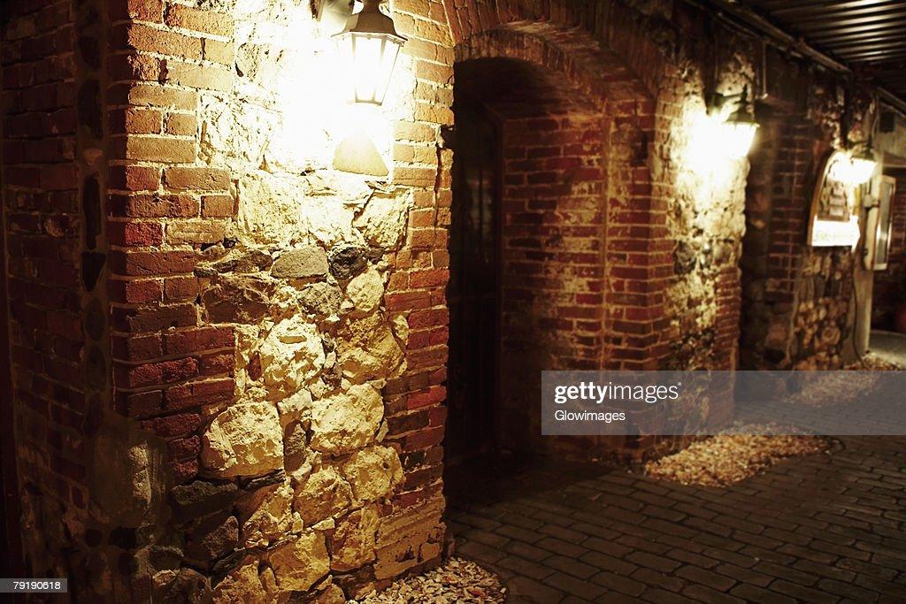 Lantern lit up at night, Savannah, Georgia, USA : Foto de stock