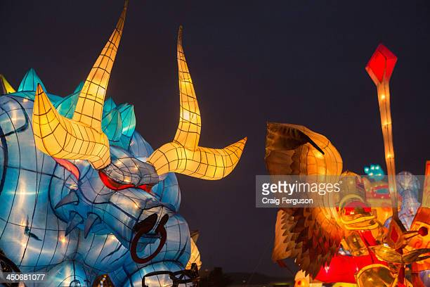 A lantern shaped like a cartoon bull is on display at the lantern festival in Taipei