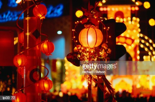 Lanterns and lights on North Bridge Road during Chinese New Year, Singapore, South-East Asia : Stock Photo