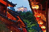 Lanterns and Temple,Lijiang,Yunnan,China
