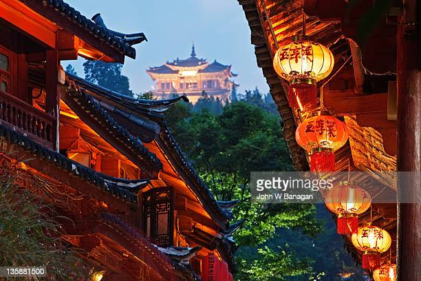 Lanterns and Temple,Lijiang,Yunnan,China