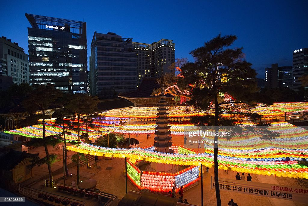 Lanterns are seen during a Lighting ceremony for the Lotus Lantern Festival to celebrate Buddha's birthday at the Jogye temple on May 4, 2016 in Seoul, South Korea.