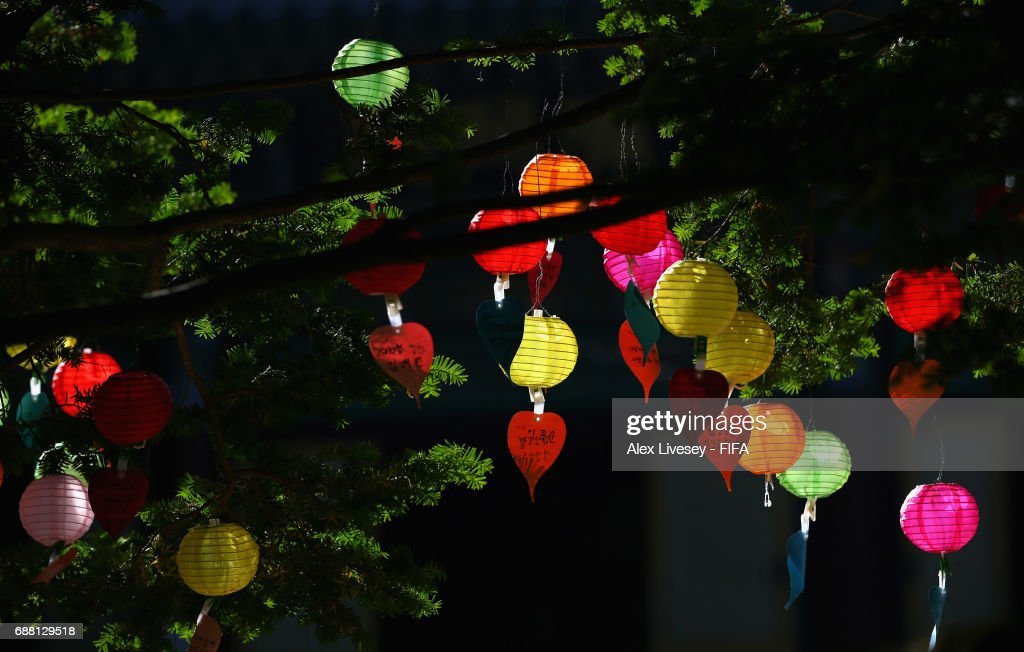 Lanterns are seen hanging from trees near the Donghaksa Temple in Gyeryongsan National Park at Gongju during the FIFA U-20 World Cup on May 25, 2017 in Daejeon, South Korea. The temple is the first and oldest existing academic institute for female monks.
